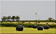SS2514 : North Cornwall : Field & Wind Turbine by Lewis Clarke