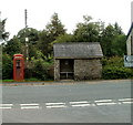 SN8924 : Bus shelter and disused phonebox, Crai by John Grayson