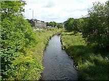 SE0026 : The River Calder from Hawks Clough Bridge, Mytholmroyd by Humphrey Bolton