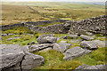 SD9970 : Gritstone outcrop and walls on Conistone Moor by Tom Richardson