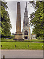 SE2769 : Obelisk and St Mary's Church, Studley Royal by David Dixon