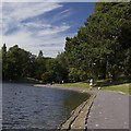 SJ3787 : Boating lake walkway, Sefton Park, Liverpool by Paul Harrop