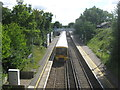 As seen from Barnehurst Road bridge.  The train is on platform 2 heading towards Dartford. The other platform is for trains heading towards London.  Compare with [[1765668]] (takein in 1961). Not much change - just bigger trees!