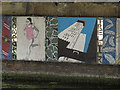 TQ2481 : Mural under canal bridge - kayak, runner, Trellick Tower by David Hawgood