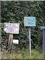 TM2261 : Sparks Barn, Sparks Farm &amp; Old Swan House signs by Adrian Cable