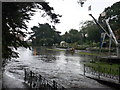 SZ0891 : Bournemouth: flooding in the Lower Gardens by Chris Downer