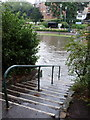 SZ0891 : Bournemouth: steps into the flood by Chris Downer