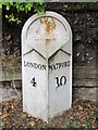 TQ2386 : Old milestone, Cricklewood Broadway (A5), NW2 by Mike Quinn