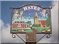 TQ4066 : Hayes Village Sign Close-up by David Anstiss