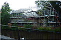SD9927 : Scaffolding at the rear of Hebden Bridge Little Theatre by Phil Champion