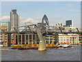 TQ3280 : Working Barge and London Millennium Footbridge by Colin Smith