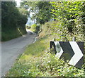 SO3117 : Mirror on a sharp bend sign, Triley Mill by John Grayson