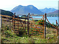 NG5538 : Gate on the path above Oskaig by John Allan