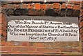 TL1507 : Plaque on gateway, The Pemberton Almshouses by Ian Capper