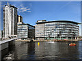 SJ8097 : Media CityUK, Footbridge and BBC Buildings by David Dixon