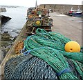 NJ6565 : Nets and lobster pots, Whitehills Harbour by Peter Barr