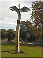 SJ8390 : Heron Sculpture, Northernden Riverside Park by David Dixon