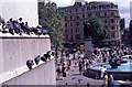 TQ3080 : Pigeons and tourists in Trafalgar Square by Peter Shimmon