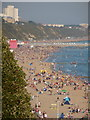 SZ0890 : Bournemouth: the beach during an October heat-wave by Chris Downer