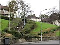 Dist:0.1km<br/>A flight of steps form a short cut towards Kilsyth town centre from a residential area on a hillside.