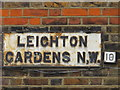 TQ2383 : Sign for Leighton Gardens, NW10 by Mike Quinn