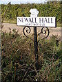 TM3376 : Newall Hall, Huntingfield sign by Adrian Cable