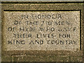 SJ9693 : Hyde War Memorial Inscription by David Dixon