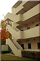 TQ2785 : Isokon Flats, Lawn Road: exterior staircase by Julian Osley