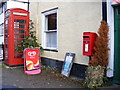 TM1877 : Telephone Box & Post Office Low Street Postbox by Adrian Cable