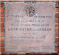 TQ2973 : St Thomas, Telford Avenue, Telford Park - Foundation stone by John Salmon