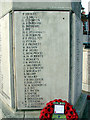 TL1829 : Hitchin War Memorial - World War Two Panel - N to S by John Lucas