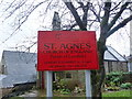 SD9603 : St Agnes Church, Leesfield, Sign by Alexander P Kapp