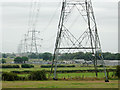SP0699 : Farmland with pylons south of Aldridge, Walsall by Roger  Kidd