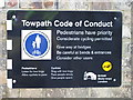 TQ2382 : Paddington Arm - towpath code of conduct by David Hawgood