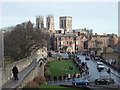 SE5951 : York: looking along the walls towards the Minster by Chris Downer
