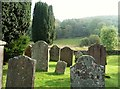 NX5856 : Graveyard at Anwoth Old Kirk, looking towards Bog Hall Wood by Ann Cook