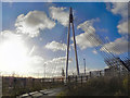 SJ7893 : Trans-Pennine Trail, Suspension Bridge over the M60 by David Dixon