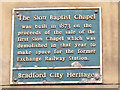 Photo of Sion Baptist Chapel, Bradford blue plaque