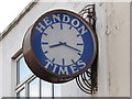 TQ2389 : Clock on the offices of the Hendon Times, Church Road, NW4 by Mike Quinn