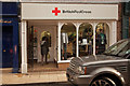 SJ7578 : Red Cross Charity Shop, King Street, Knutsford by Roger A Smith