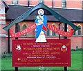 TQ3298 : St Luke, Browning Road, Enfield - Notice board by John Salmon