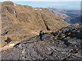 NM8478 : Rock slabs on north-east ridge of Beinn Odhar Bheag by Trevor Littlewood
