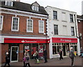 SO9670 : Bromsgrove High Street  Santander &amp; Ryman by Roy Hughes