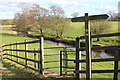 SJ8581 : Bollin Valley Way fingerpost and kissing gate, Vardon Bridge by Peter Turner