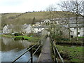 SK1573 : Footbridge across the River Wye near Litton Mill by Andrew Hill