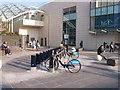 TQ2380 : Boris bikes at Westfield, SW docking station by David Hawgood