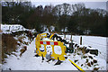 SD9926 : Roadworks on Park Lane, near Wood Hey Clough by Phil Champion