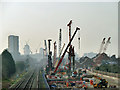 TQ4578 : Crossrail construction west of Church Manorway by Robin Webster