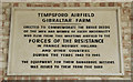 TL1952 : Gibraltar Barn. Memorial Plaque. RAF Tempsford, Home of Sq. 138 and 161 (Special Operations) by Peter Skynner