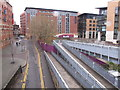 SK3587 : Hotels with ramp footway to elevated tramway, Sheffield by David Hawgood